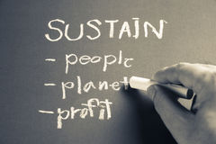 Sustain. Hand writing Sustain business concept with chalk Stock Image
