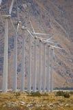 Sustainability. Alternative energy. A row of power generating turbines stock photos