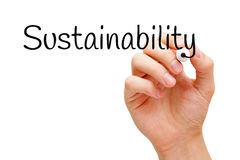 Sustainability Black Marker. Hand writing Sustainability with black marker on transparent wipe board Stock Images