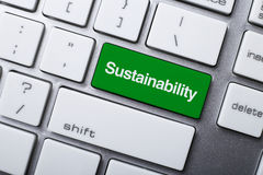 Sustainability Button On Keyboard Royalty Free Stock Images