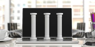 Three classical pillars on a computer, office background. 3d illustration. Sustainability concept.Three classical pillars on a computer, blur office background Royalty Free Stock Image