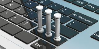 Three classical pillars on a computer keyboard. 3d illustration. Sustainability concept.Three classical pillars on a silver computer keyboard. 3d illustration Royalty Free Stock Photography