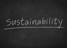 Sustainability. Concept word on blackboard background Stock Photography