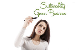 Sustainability and green business. Green business and Sustainability. Beautiful girl presenting and writing the word green business and sustainability on white Stock Photography