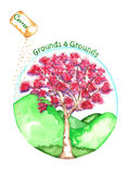 Sustainability Grounds With Cherry Tree Watercolor Royalty Free Stock Image