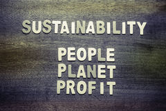 Sustainability. And People, Planet, Profit for sustainable development business concept Stock Image