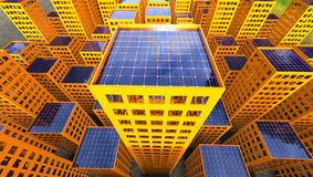Free Sustainability Solar Power Concept City 3d Illustration Royalty Free Stock Image - 80825956