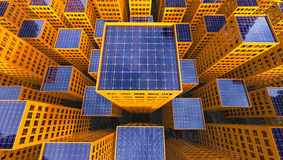 Sustainability Solar Power concept City 3d Illustration Stock Images