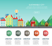 Sustainability, sustainable city banner Royalty Free Stock Images