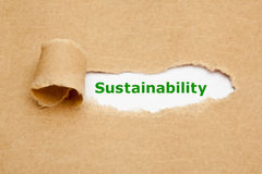 Sustainability Torn Paper Concept. The word Sustainability appearing behind torn brown paper Royalty Free Stock Photo