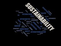 Sustainability - word cloud wordcloud - terms from the globalization, economy and policy environment. Wordcloud with series of terms from the globalization Royalty Free Stock Image