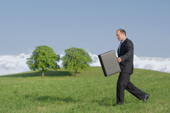 Sustainable. Businessman outdoor walk sustainable business concept Stock Photography