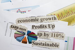 Sustainable. Cut out with financial formula abstract royalty free stock photos
