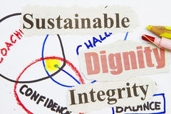 Sustainable. Newspaper cutout with sketch in white stock image