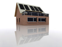 sustainable brick house in space Royalty Free Stock Photography