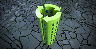 Sustainable Building Concept on eroded ground 3d illustration. Sustainable Building Concept on eroded crackled ground 3d illustration vector illustration