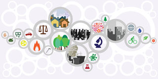 Sustainable circles horizontal. Vector illustration of website horizontal  banner for sustainable development concept with circles showing ecological risks and Stock Images