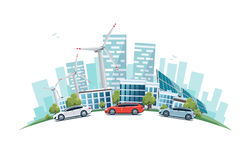Sustainable City with Cars Street Road and Skyline on Globe Stock Photo