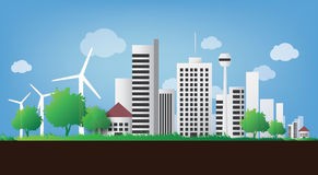 Sustainable city. Illustration of sustainable green city skyline consisting nice green spaces, approach to renewable energy Royalty Free Stock Images