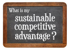 Sustainable competitive advantage concept on blackboard. What is my sustainable competitive advantage question? A question on a vintage slate blackboard isolated Royalty Free Stock Images