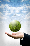 Sustainable concept, Planet of wind turbine Stock Image