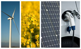 Sustainable development collage. Sustainable development  and renewable energy collage Royalty Free Stock Photo