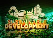 Sustainable development concept. On green background with ecology symbols in background. 3D rendering Stock Photo