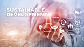 Sustainable development, ecology and environment protection concept. Renewable energy and natural resources. Double exposure of su. Ccess businessman with stock images