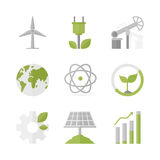 Sustainable development and green production flat icons set Stock Photo