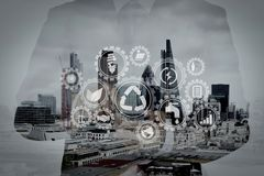 Double exposure of success businessman using smart phone and soc Stock Image