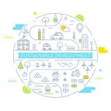 Sustainable Development and Sustainable Living Implementation Concept Line Art Vector Illustration stock illustration