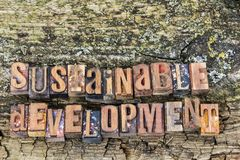 Sustainable development wood sign Stock Photography
