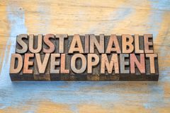 Sustainable development - word abstract in wood type Royalty Free Stock Image