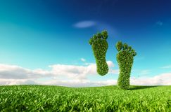 Sustainable eco friendly lifestile concept. 3d rendering of a footprint icon on fresh spring meadow with blue sky in background. stock illustration