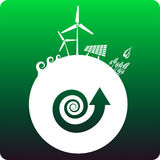 Sustainable energy. Multiple sustainable energy sources on earth with green background vector illustration