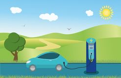 Electric car charging station - with landscape background stock illustration