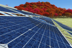 Sustainable energy. Concept illustration of sustainable energy solar panels Stock Photos
