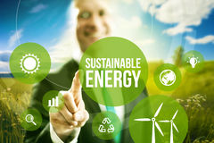 Sustainable energy concept. Sustainable energy renewable business models concept royalty free stock photography