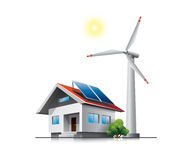 Sustainable family house. With solar panels and wind turbine Stock Photography
