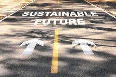 Sustainable future word on asphalt road surface with marking lines