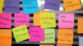 Sustainable, green design concept post it Royalty Free Stock Photography