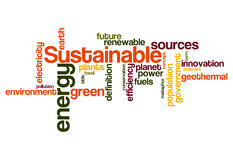 Sustainable green energy concept word cloud background Royalty Free Stock Photos