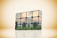 Sustainable growth concept: hand and cubes Stock Photo