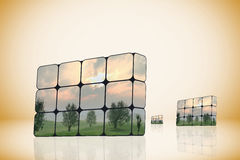 Sustainable growth concept: hand and cubes Royalty Free Stock Image