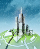 Sustainable island city development at winter Royalty Free Stock Images