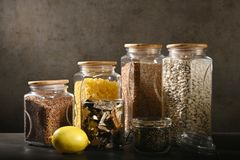 Sustainable lifestyle concept, zero waste, cereals and beas in glass, eco friendly, plastic free items. stock photography