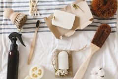 Sustainable lifestyle concept, zero waste flat lay. natural eco. Luffa, bamboo toothbrush, brush, coconut soap, handmade detergent and crystal deodorant on royalty free stock image