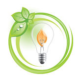 Sustainable lightbulb symbol Stock Photography