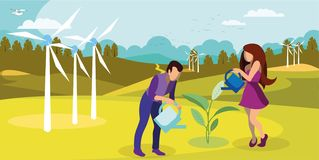 Sustainable Nature Usage Flat Vector Illustration. Windfarm Generating Green Energy. Cartoon Couple, Farmers Growing, Watering Plant. Environment Friendly stock illustration