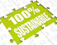 100% Sustainable Puzzle Shows Environment. 100% Sustainable Puzzle Showing Environment Protected And Recycling Royalty Free Stock Photography